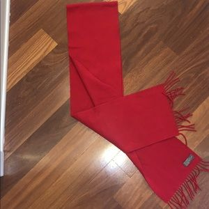 Red cashmere scarf.